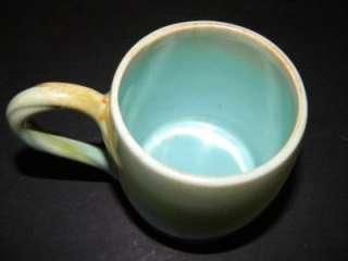 Vtg Jan Dix California Pottery Small Mug Cup Green Blue BEAUTIFUL