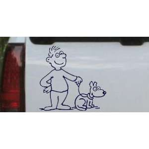 Man and Dog Stick Family Car Window Wall Laptop Decal Sticker    Navy