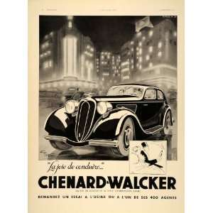 1936 French Ad Chenard Walcker Vintage Car George Ham