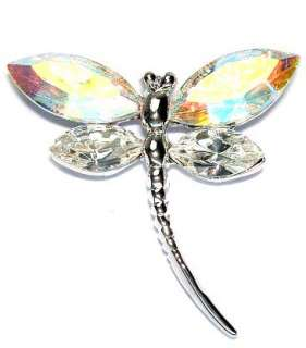 Swarovski Clear Crystal Bridal Wedding SEXY AB ~DRAGONFLY Pin Brooch