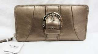 Coach Soho Leather Buckle Zip Around Wallet Bronze Brown F45580