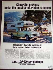 1968 CHEVROLET Camper Pickup Trucks vintage ad