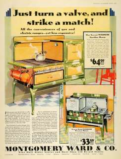 1930 Ad Montgomery Ward Windsor Kerosene Range Stoves   ORIGINAL