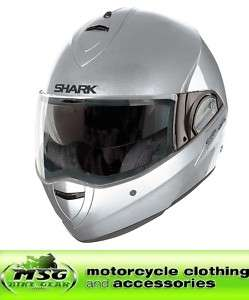 SHARK EVOLINE 2 FLIP MOTORCYCLE HELMET SILVER METAL LARGE SLM