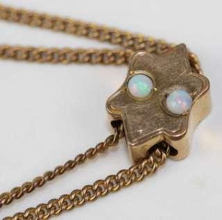 Victorian Gold Filled Opal Cabochon Watch Chain with Slide