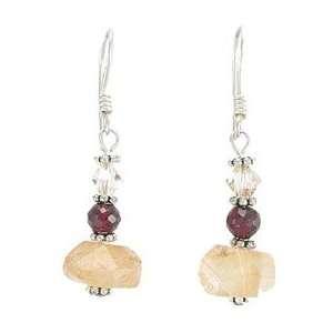 Citrine, Garnet Gemstone, and Swarovski Crystal Bead Dangle Earrings