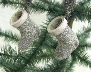 CHRISTMAS SANTA SILVER GLITTER MINI BOOTS ORNAMENTS 2