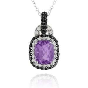 Silver Amethyst, Cubic Zirconia and Black Spinel Pendant Necklace, 18