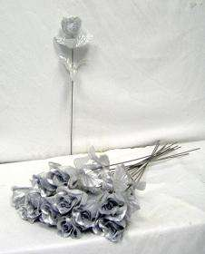 24 SILVER Silk Single Long Stem Rose Bud Wedding Flower