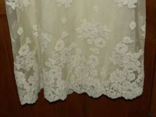 PRISCILLA OF BOSTON Vintage Ivory Lace Wedding Gown Long Sleeve Sz XS