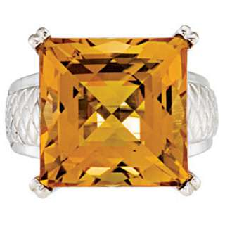 STERLING SILVER CHECKERBOARD CITRINE RING   SOLITAIRE