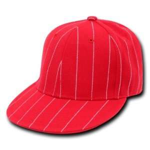 RED PIN STRIPE FITTED BASEBALL CAP HAT CAPS SIZE 6 7/8