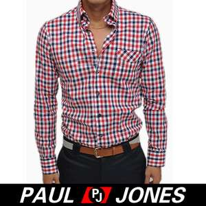 Korea PJ Mens Grids Slim FITTED Dress Shirts Shine 2011