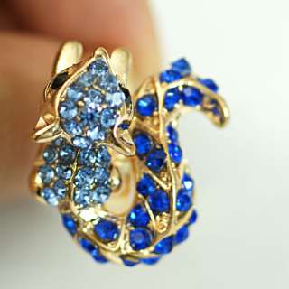 Animal Squirrel Gold Plated Cocktail Diamante CZ Finger Adjustable