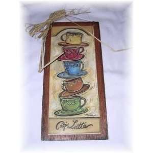 Cafe Latte Stacked Coffee Mugs Kitchen Wall Art Sign