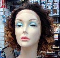 SYNTHETIC FRONT LACE WIG SHORT BIG CURLS BLONDE MANY COLORS U PICK