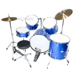 NEW 5 PIECE BLUE FULL SIZE DRUM SET + CYMBALS & THRONE