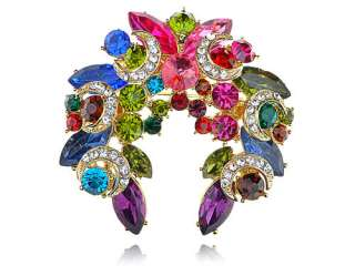 Beautiful Colorful Crystal Rhinestone Gold Tone Festive Wreath Design