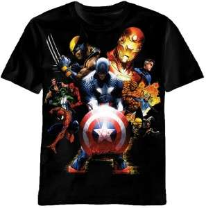 Marvel Comic Heroes Iron Man Hulk Captain America Team Up Tee Shirt