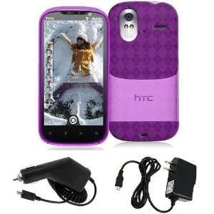 HTC Amaze 4G   Hot Pink Checker Argyle Transparent TPU Flex Skin Case