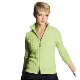 Sutton Studio Womens Cashmere Cable Knit Zip Cardigan