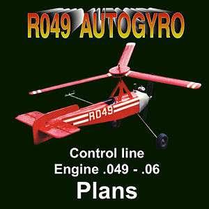 CONTROL LINE MODEL AIRPLANE PLANS AUTOGRYO BUILDING NOTES & PL ANS