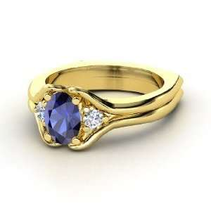Stone Ring, Oval Sapphire 14K Yellow Gold Ring with Diamond Jewelry