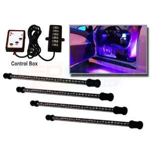 4pc. Expandable Purple LED Interior Lighting Kit Automotive