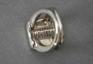 Authentic HERMES Ring Blue Corozo Stone Horse Motif Size 52 US 5.5
