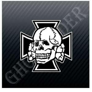 German Skull Iron Cross Car Trucks Sticker Decal