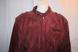 MEMBERS ONLY Men RED Suede Leather Jacket Sz L