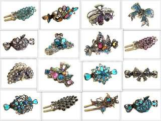 Butterfly Crystal Alligator Jaw Hair Clip Claw Select Pattern