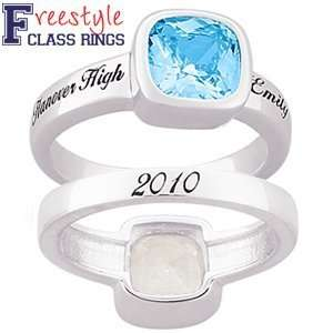 Ladies Sterling Silver Cushion cut Stone Class Ring Jewelry