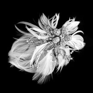 Silver & White Feather Bridal Hair Fascinator Clip