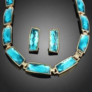 fashion BIB necklace earrings stud Set gold plated swarovski crysta