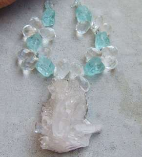 TURQUOISE QUARTZ DRUZY RAW PENDANT NECKLACE CLEAR FACETED CRYSTAL BIG