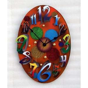 David Scherer Small Modern Oval Gold Wall Clock Home