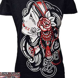 DARKSIDE CLOTHING GYPSY WOMENS T SHIRT TATTOO ROSE ROCKABILLY PUNK