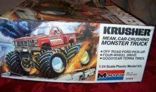 KRUSHER FORD MONSTER TRUCK PLASTIC MODEL KIT MONOGRAM MADE 1984 1/24