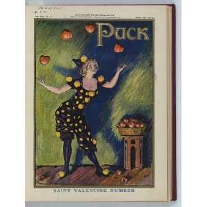 Saint Valentine Number,Puck,1911,young woman juggling hearts