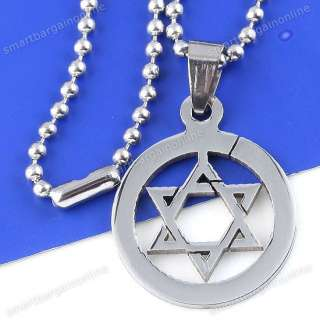 1pc Mens Stainless Steel Star Of David Pendant Chain Necklace 19 Punk