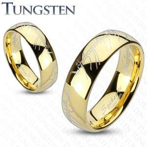 Pair (2Pc) Tungsten Carbide Gold Plated Lord Laser Etched Couple Ring