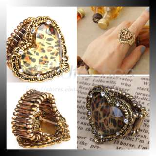 Shape Leopard Grain Design Adjustable Rhinestone Ring Accessory