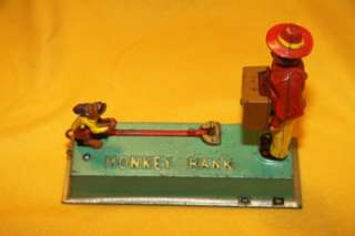 RS Estate HUBLEY MFG. CO. Cast Iron MONKEY MECHANICANICAL BANK