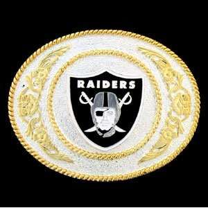 Oakland Raiders Gold & Silver NFL Belt Buckle