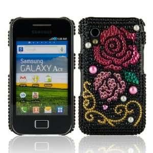 WalkNTalkOnline   Samsung S5830 Galaxy Ace Black & Pink & Gold Rose