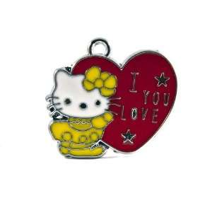 12X DIY Jewelry Making Hello Kitty Alloy Enamel Charm Pendant   I
