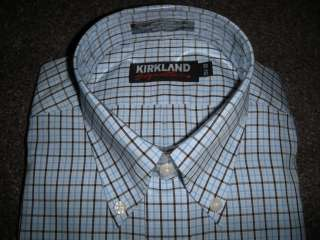 NWT Kirkland NON IRON Mens 17.5 x 33 BLUE WHITE PLAID Dress Shirt