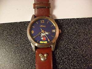 Vintage  Mickey Mouse Watch, blue, leather