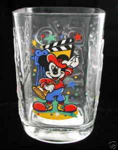 Glass, Mickey Mouse 2000 Disney World Studios Pressed